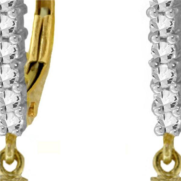 Genuine 4.8 ctw Amethyst & Diamond Earrings 14KT Yellow Gold - REF-53V2W