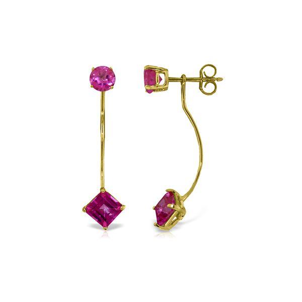 Genuine 4.15 ctw Pink Topaz Earrings 14KT Yellow Gold - REF-32N8R
