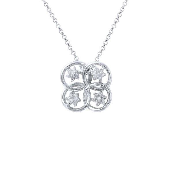 Natural 0.14 CTW Diamond Necklace 14K White Gold - REF-27F9M