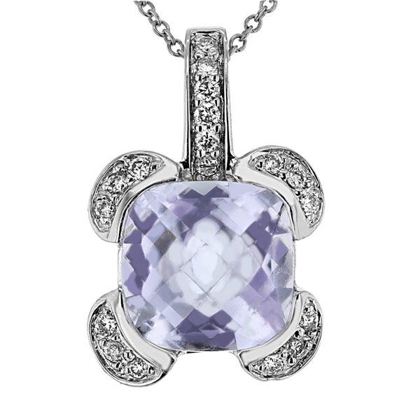Natural 3.83 CTW Amethyst & Diamond Necklace 14K Gold - REF-45F9M