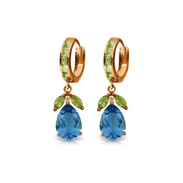 Genuine 14.3 ctw Blue Topaz & Peridot Earrings 14KT Rose Gold - REF-82T9A