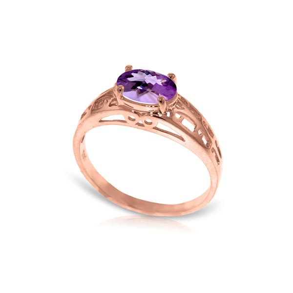 Genuine 1.15 ctw Amethyst Ring 14KT Rose Gold - REF-32M3T