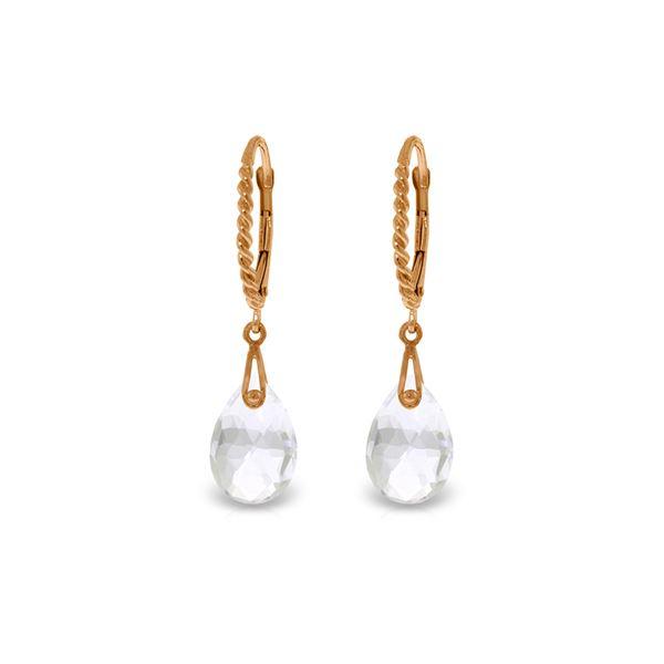 Genuine 6 ctw White Topaz Earrings 14KT Rose Gold - REF-30Y6F