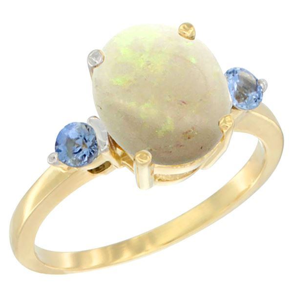 1.65 CTW Opal & Blue Sapphire Ring 10K Yellow Gold - REF-24R2H