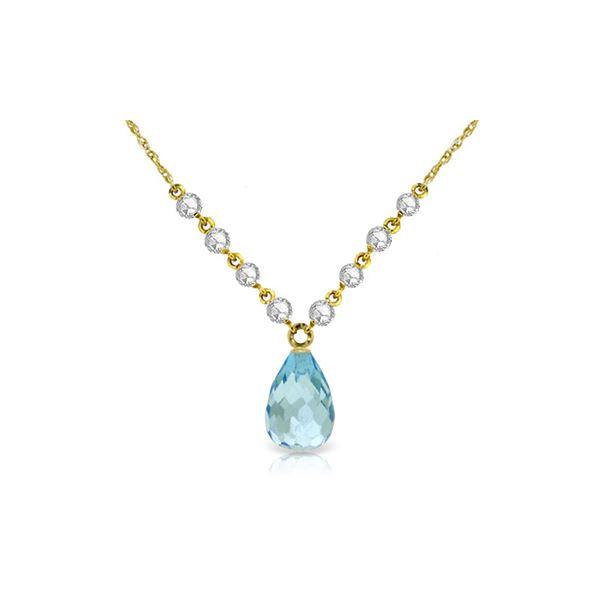 Genuine 11.30 ctw Blue Topaz & Diamond Necklace 14KT Yellow Gold - REF-129Y4F