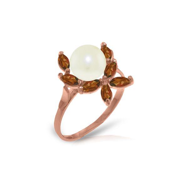 Genuine 2.65 ctw Pearl & Garnet Ring 14KT Rose Gold - REF-28V5W