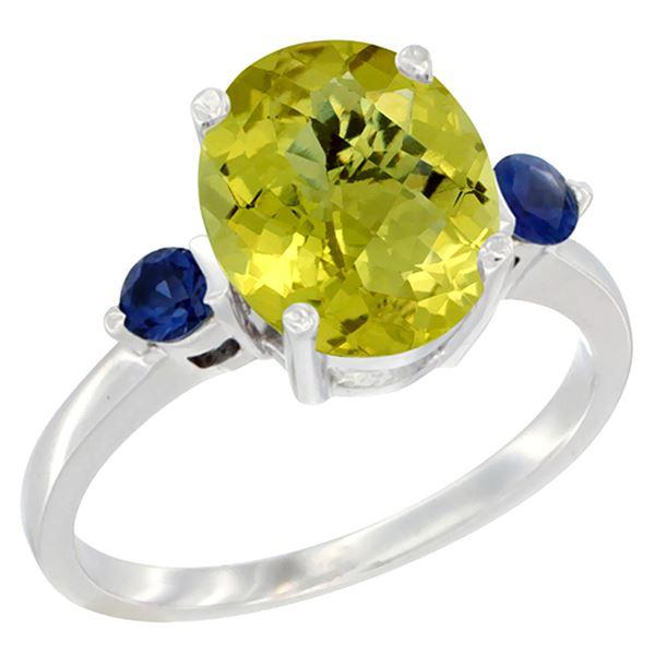 2.64 CTW Lemon Quartz & Blue Sapphire Ring 14K White Gold - REF-31M4K