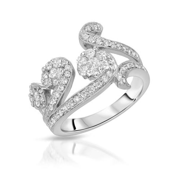 Natural 1.04 CTW Diamond Ring 18K White Gold - REF-93T6X