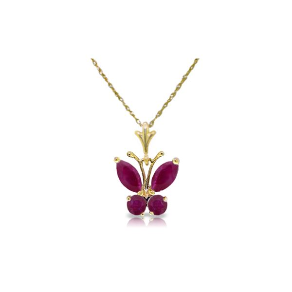 Genuine 0.60 ctw Ruby Necklace 14KT Yellow Gold - REF-25T3A