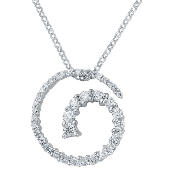 Natural 0.49 CTW Diamond Necklace 14K White Gold - REF-57W6H