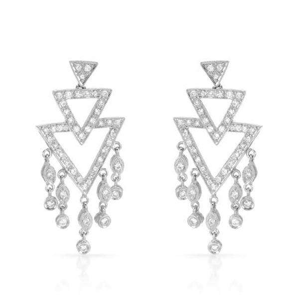 Natural 0.82 CTW Diamond Earrings 18K White Gold - REF-127F8M