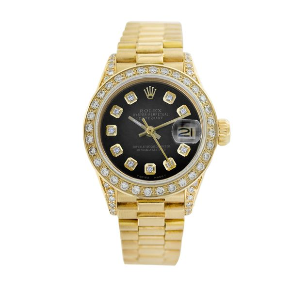 Rolex Pre-owned 26mm Womens Blue Vignette 18K Gold
