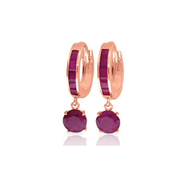 Genuine 3.3 ctw Ruby Earrings 14KT Rose Gold - REF-59T2A