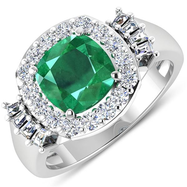 Natural 2.73 CTW Zambian Emerald & Diamond Ring 14K White Gold - REF-125F3N