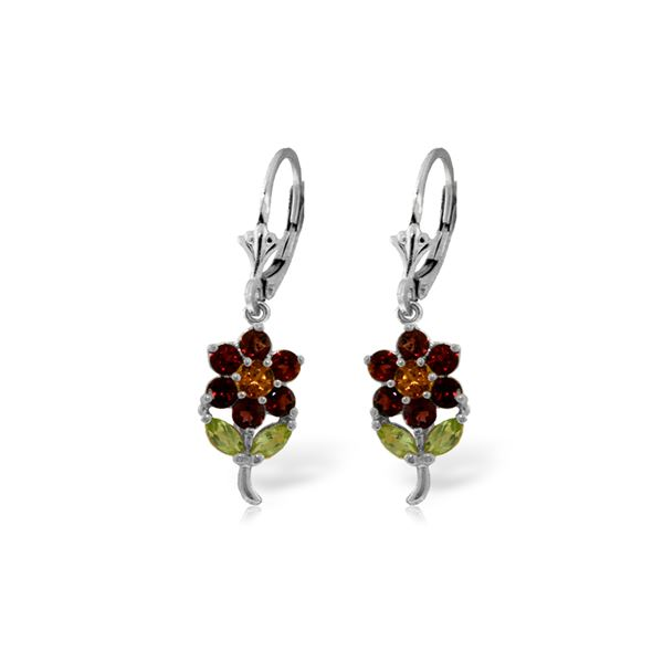 Genuine 2.12 ctw Multi-gemstones Earrings 14KT White Gold - REF-42Z4N