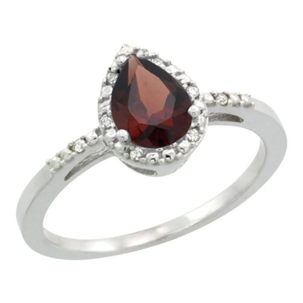 1.55 CTW Garnet & Diamond Ring 10K White Gold - REF-20X7M