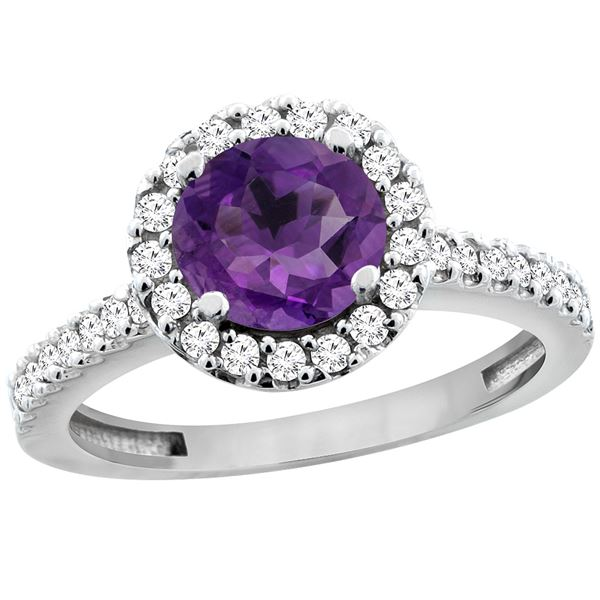 1.13 CTW Amethyst & Diamond Ring 14K White Gold - REF-60F5N
