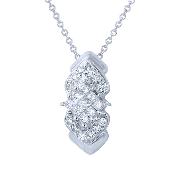 Natural 0.72 CTW Diamond & Princess Diamond Necklace 14K White Gold - REF-49W5H