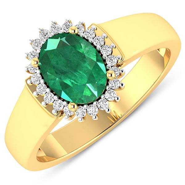 Natural 2.3 CTW Zambian Emerald & Diamond Ring 14K Yellow Gold - REF-51K6W