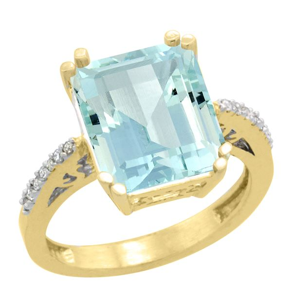 5.52 CTW Aquamarine & Diamond Ring 14K Yellow Gold - REF-72K3W