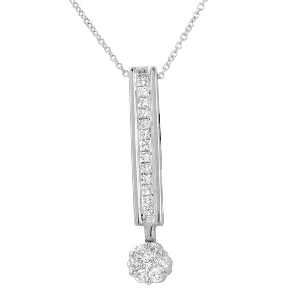 Natural 0.50 CTW Princess Diamond Necklace 14K White Gold - REF-63T2X