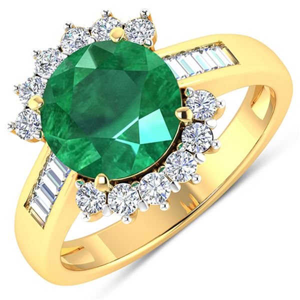 Natural 3.18 CTW Zambian Emerald & Diamond Ring 14K Yellow Gold - REF-157N7R