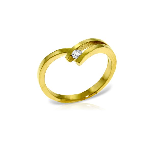 Genuine 0.10 ctw Diamond Anniversary Ring 14KT Yellow Gold - REF-54W9Y