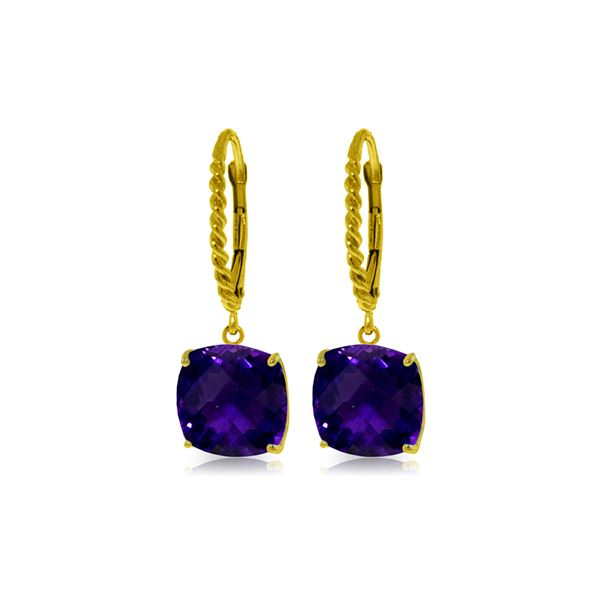 Genuine 7.2 ctw Amethyst Earrings 14KT Yellow Gold - REF-48Z3N