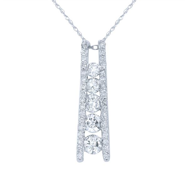Natural 1.03 CTW Diamond Necklace 14K Gold - REF-140W4H