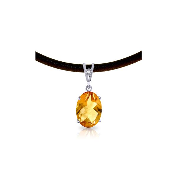 Genuine 7.56 ctw Citrine & Diamond Necklace 14KT White Gold - REF-35M5T