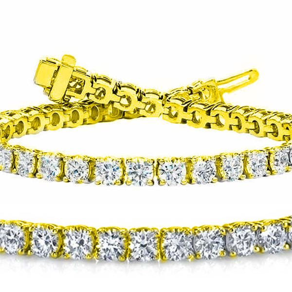 Natural 7.03ct VS2-SI1 Diamond Tennis Bracelet 14K Yellow Gold - REF-592K6H