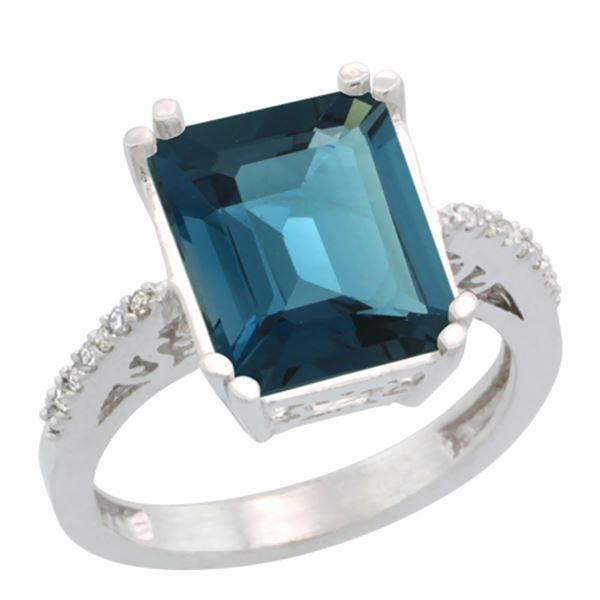 5.52 CTW London Blue Topaz & Diamond Ring 10K White Gold - REF-46X3M