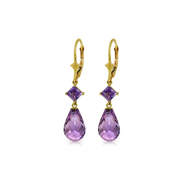 Genuine 11 ctw Amethyst Earrings 14KT Yellow Gold - REF-39Y3F