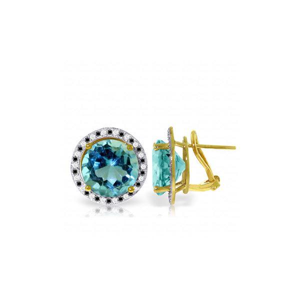 Genuine 16 ctw Blue Topaz, White & Black Diamond Earrings 14KT Yellow Gold - REF-127H3X
