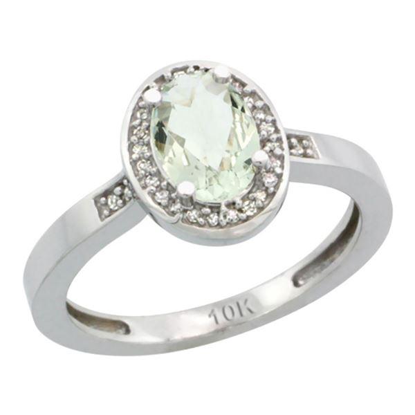 1.15 CTW Amethyst & Diamond Ring 14K White Gold - REF-37H9M