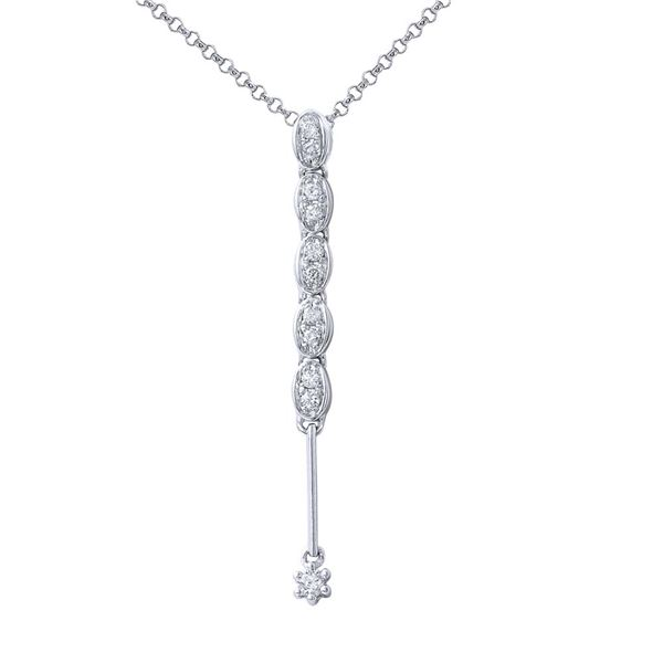 Natural 0.11 CTW Diamond Necklace 14K White Gold - REF-18T9X