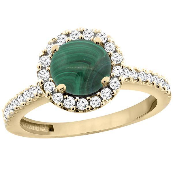 2.56 CTW Malachite & Diamond Ring 14K Yellow Gold - REF-60A5X