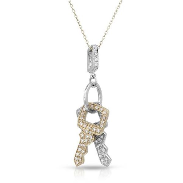 Natural 0.64 CTW Diamond Necklace 14K Two Tone Yellow Gold - REF-74T7X