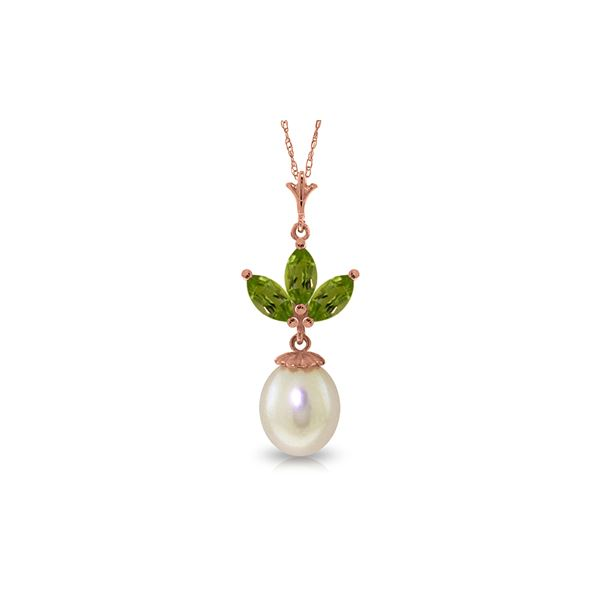 Genuine 4.75 ctw Peridot & Pearl Necklace 14KT Rose Gold - REF-24F3Z