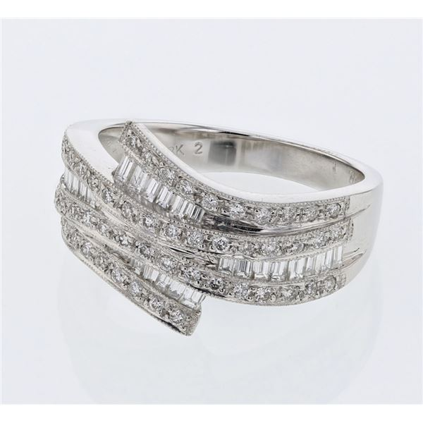 Natural 0.91 CTW Baguette & Diamond Ring 18K White Gold - REF-133N2Y