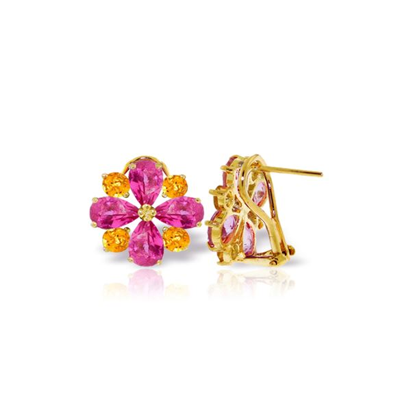 Genuine 4.85 ctw Pink Topaz & Citrine Earrings 14KT Yellow Gold - REF-59F5Z