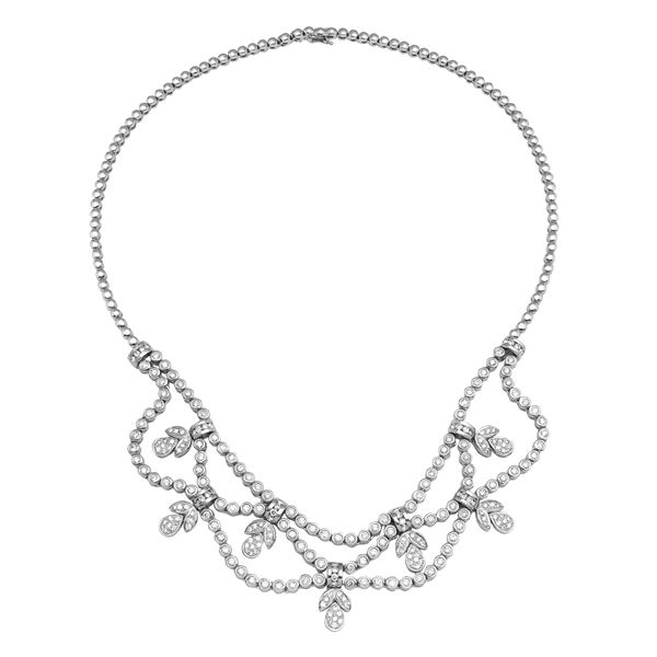 Natural 4.36 CTW Diamond Necklace 18K White Gold - REF-806K4R