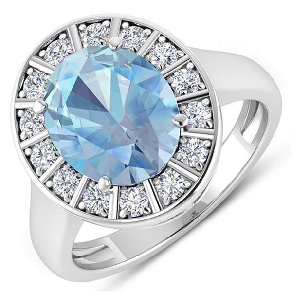 Natural 3.12 CTW Aquamarine & Diamond Ring 14K White Gold - REF-111M3T