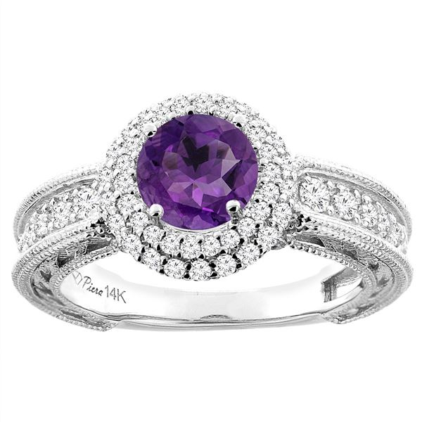 1.25 CTW Amethyst & Diamond Ring 14K White Gold - REF-91R6H
