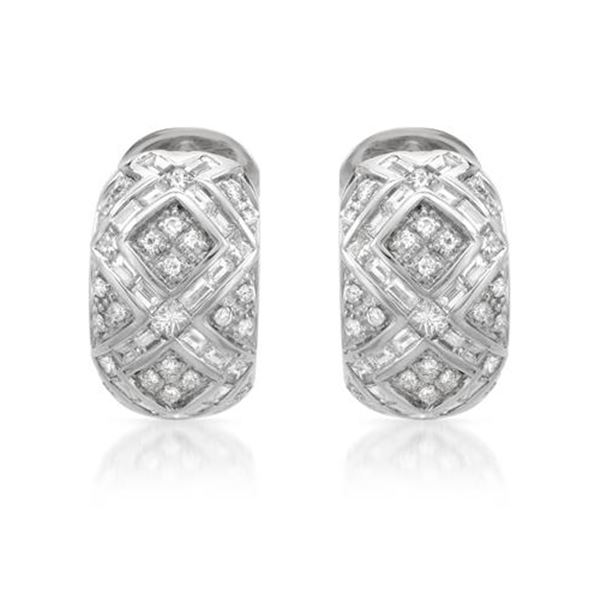 Natural 2.73 CTW Baguette & Diamond Earrings 14K White Gold - REF-356K4R