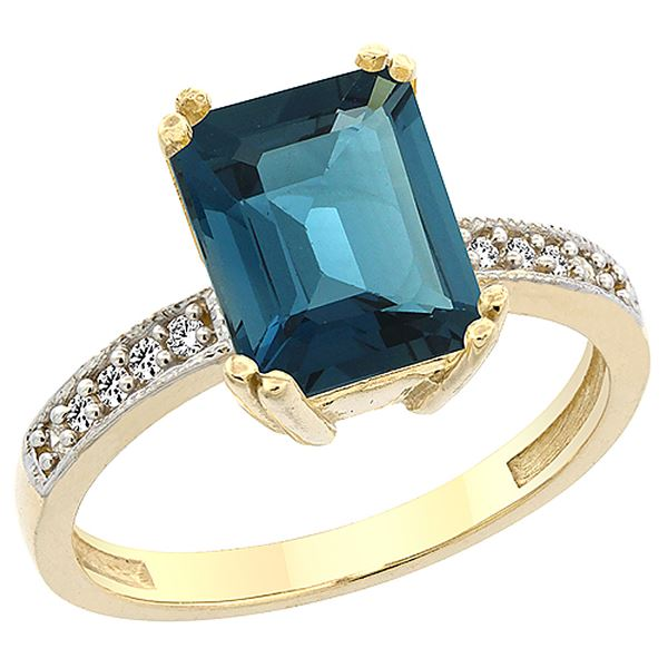 3.70 CTW London Blue Topaz & Diamond Ring 10K Yellow Gold - REF-33M2K