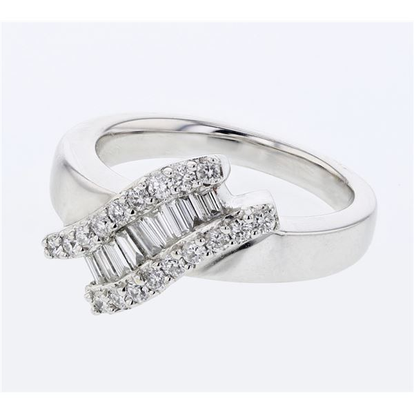 Natural 0.59 CTW Baguette & Diamond Ring 18K White Gold - REF-138T6X