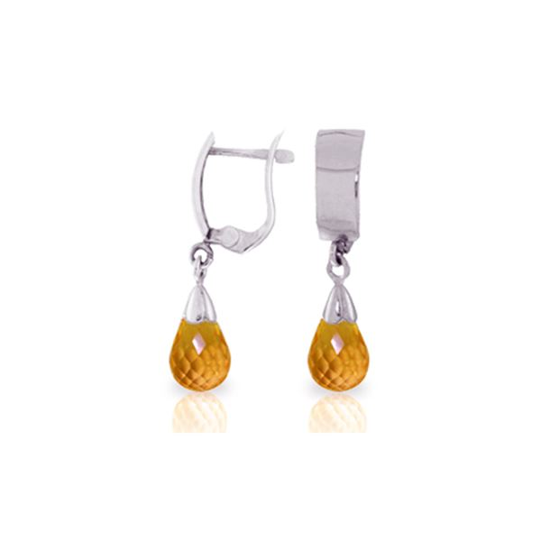 Genuine 2.5 ctw Citrine Earrings 14KT White Gold - REF-22Y3F