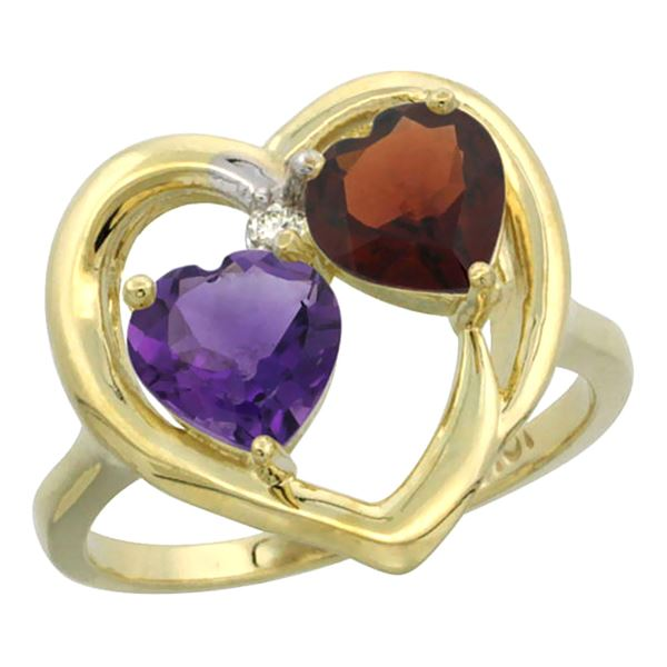 2.61 CTW Diamond, Amethyst & Garnet Ring 14K Yellow Gold - REF-33R9H