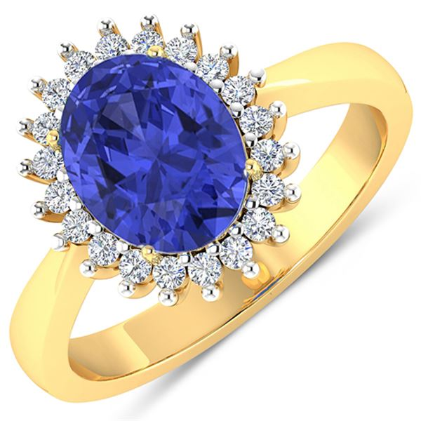 Natural 2.49 CTW Tanzanite & Diamond Ring 14K Yellow Gold - REF-50W2X